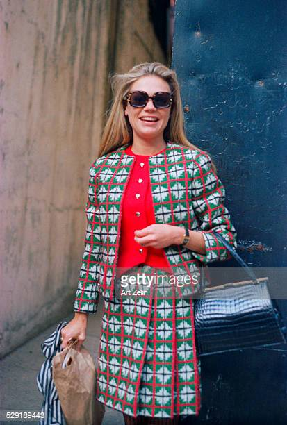 Dyan Cannon wearing a red green and white geometric print suit circa 1980 New York