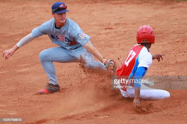 Joshua Hartle of United States pitches in the 3rd inning during the WBSC U15 World Cup Super Round match between USA and Cuba at Estadio Kenny...