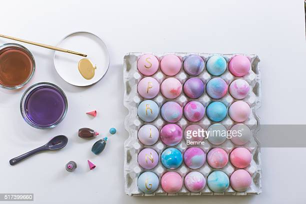 Dyed Easter Eggs in a Carton