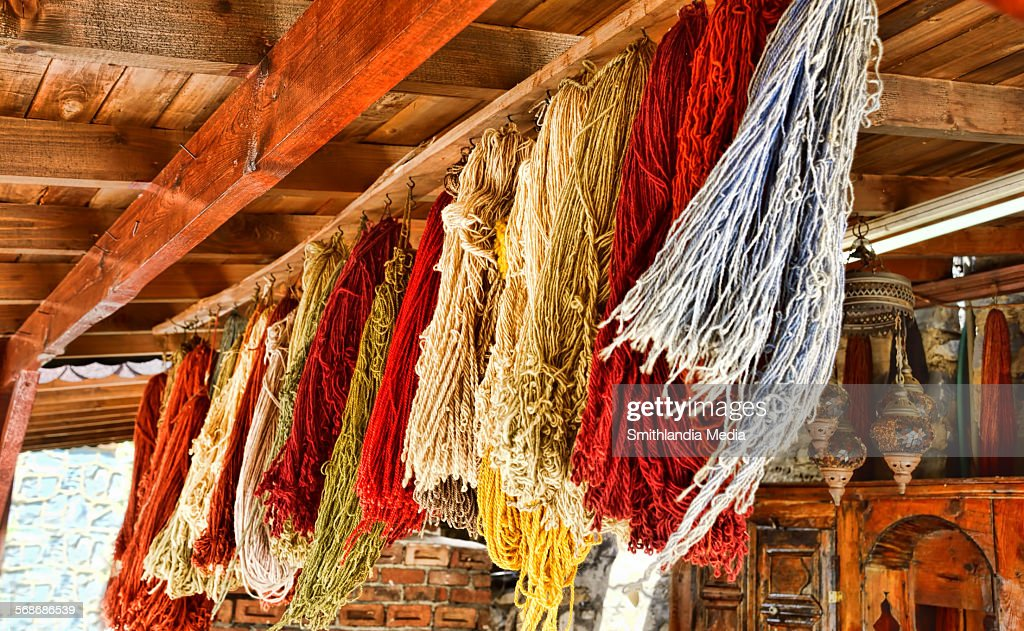 Dyed wool yarn drying : Stock Photo