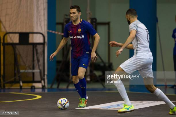 Dyego Henrique Zuffo of FC Barcelona in action during the Elite Round of UEFA Futsal Cup 17/18 match between FC Barcelona and ZVV 'T Knoppount at...