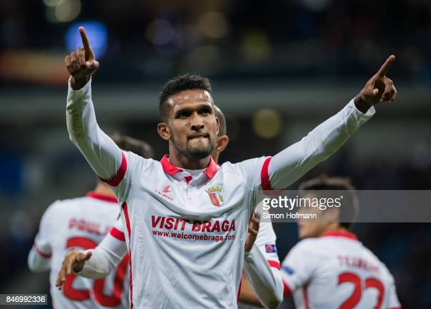 Dyego Sousa of Braga celebrates his team's second goal during the UEFA Europa League Group C match between 1899 Hoffenheim and Sporting Braga at...