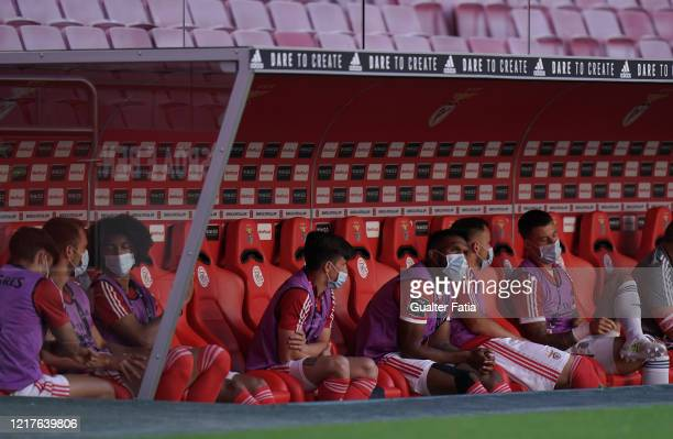 Dyego Sousa of SL Benfica sits in the bench during the Liga NOS match between SL Benfica and CD Tondela at Estadio da Luz on June 4 2020 in Lisbon...