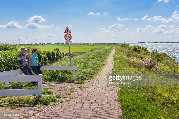 Dyke road and polder in Marken
