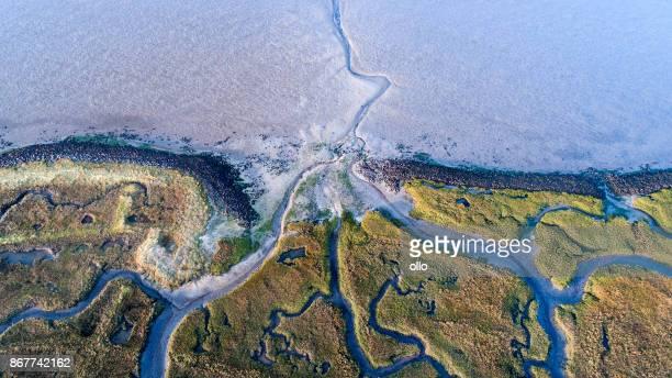 Dijk, zout moeras en kustlijn - luchtfoto