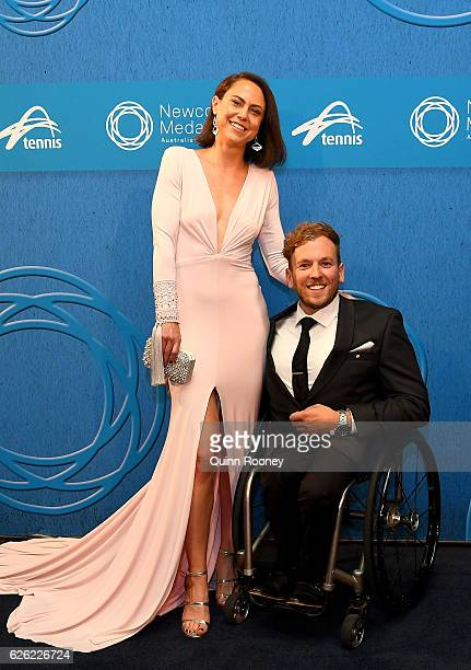 Dylan Alcott and girlfriend Kate Lawrance pose as they arrive ahead of the 2016 Newcombe Medal at Crown Palladium on November 28 2016 in Melbourne...