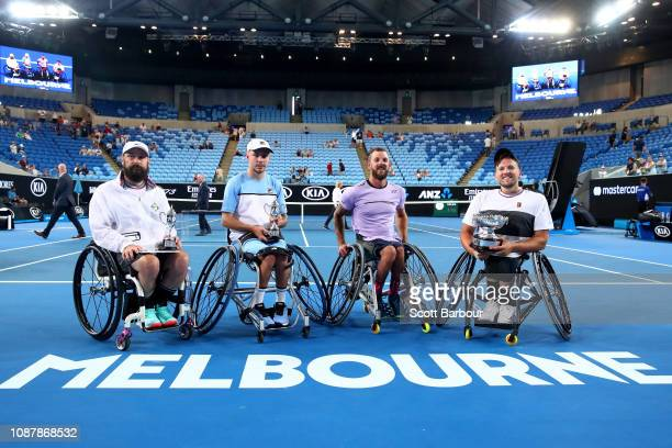 Dylan Alcott and Heath Davidson of Australia pose with Andy Lapthorne of Great Britain and David Wagner of the United States after their Quad...