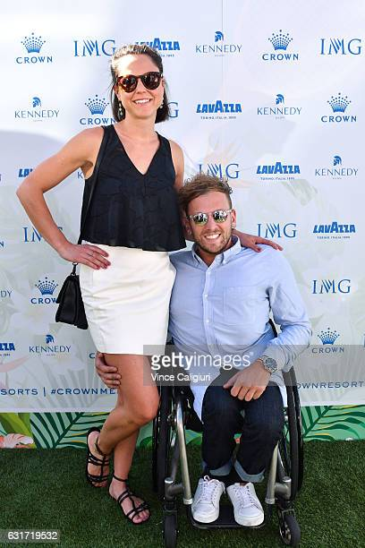 Dylan Alcott and Kate Lawrence arrive at the 2017 Australian Open party at Crown on January 15 2017 in Melbourne Australia