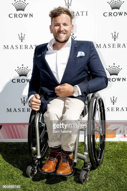 Dylan Alcott arrives ahead of the 2018 Crown IMG Tennis Player at Crown Palladium on January 14 2018 in Melbourne Australia