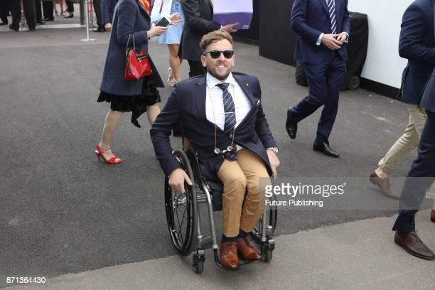 Dylan Alcott arrives with friends at the Melbourne Cup Carnival on November 7 2017 in Melbourne Australia Chris Putnam / Barcroft Images