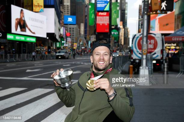 Dylan Alcott celebrates his US Open win in Times Square on September 13, 2021 in New York City.