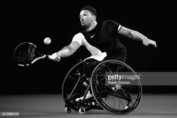 Dylan Alcott competes in his second match at Melbourne Park on January 26 2018 in Melbourne Australia Alcott dominated the 2018 Australian Open...