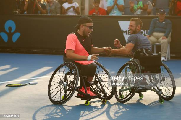 Dylan Alcott of Australia and Heath Davidson of Australia celebrate winning match point in the Quad Wheelchair Doubles Final against Andy Lapthorne...
