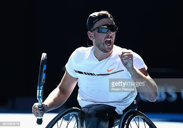 Dylan Alcott of Australia celebrates a point in his Quad Wheelchair Singles Final against Andy Lapthorne of Great Britain during the Australian Open...