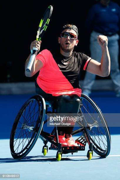 Dylan Alcott of Australia celebrates after winning the Quad Wheelchair Singles Final against David Wagner of the United States during the Australian...