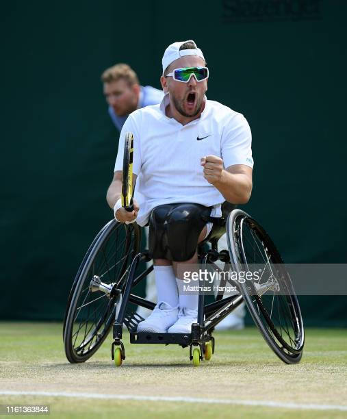 Dylan Alcott of Australia celebrates in his Quad Wheelchair Singles SemiFinal match against Koji Sugeno during Day Ten of The Championships Wimbledon...