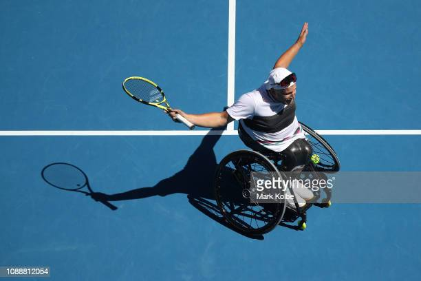 Dylan Alcott of Australia celebrates winning championship point in his Quad Wheelchair Singles Final match against David Wagner of the United States...