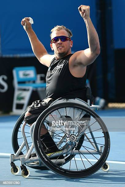 Dylan Alcott of Australia celebrates winning his final Quad Wheelchair match against David Wagner of the United States during the Australian Open...