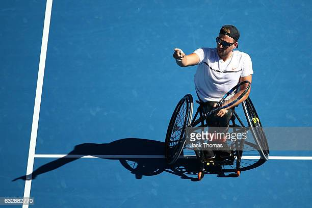 Dylan Alcott of Australia celebrates winning his Quad Wheelchair Singles Final against Andy Lapthorne of Great Britain during the Australian Open...