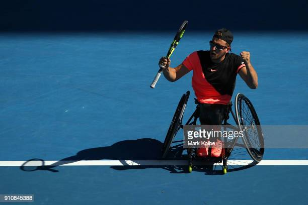 Dylan Alcott of Australia celebrates winning match point in his Quad Wheelchair Singles Final against David Wagner of the United States during the...