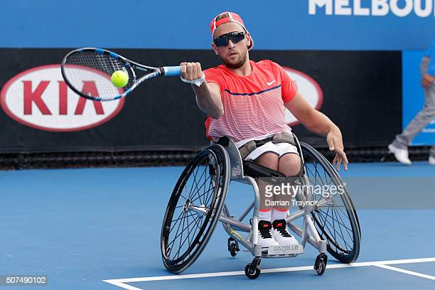 Dylan Alcott of Australia celebrates winning the Quad Wheelchair Singles Final match against David Wagner of the United States during the Australian...