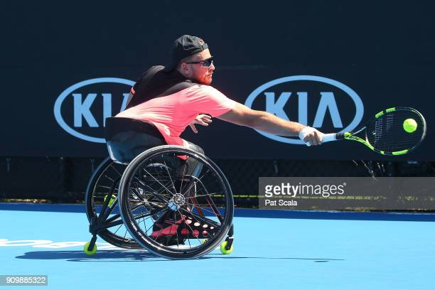 Dylan Alcott of Australia plays a backhand in his Quad Wheelchair Singles match against David Wagner of the United States during the Australian Open...