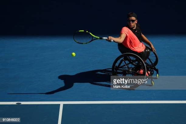 Dylan Alcott of Australia plays a forehand in his Quad Wheelchair Singles Final against David Wagner of the United States during the Australian Open...