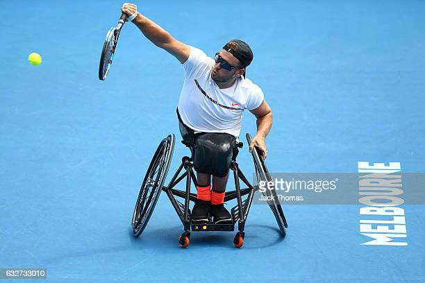 Dylan Alcott of Australia plays a shot in his Quad Wheelchair Singles match against Andy Lapthorne of Great Britain during the Australian Open 2017...