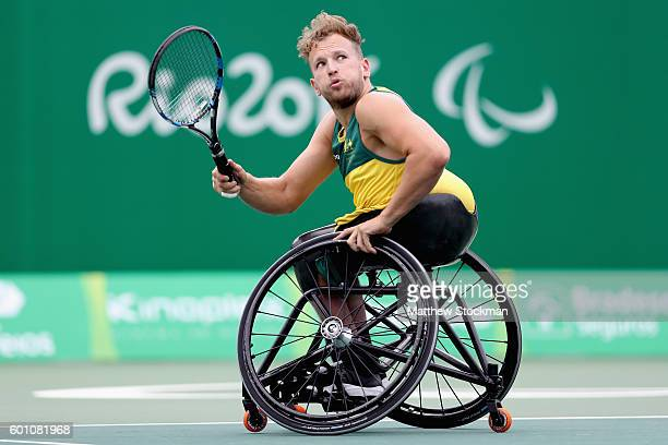 Dylan Alcott of Australia plays Sharga Weinberg of Israel in men's quad singles on day 2 of the Rio 2016 Paralympic Games at on September 9 2016 in...