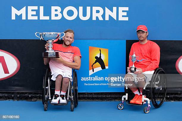 Dylan Alcott of Australia poses with the winners trophy and David Wagner with the runners up trophy after the Quad Wheelchair Singles Final match...