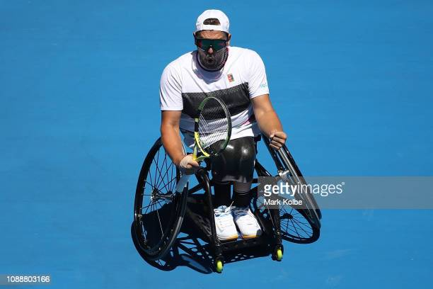 Dylan Alcott of Australia reacts in his Quad Wheelchair Singles Final match against David Wagner of the United States during day 13 of the 2019...