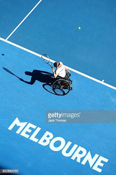 Dylan Alcott of Australia serves in his Quad Wheelchair Singles Final against Andy Lapthorne of Great Britain during the Australian Open 2017...