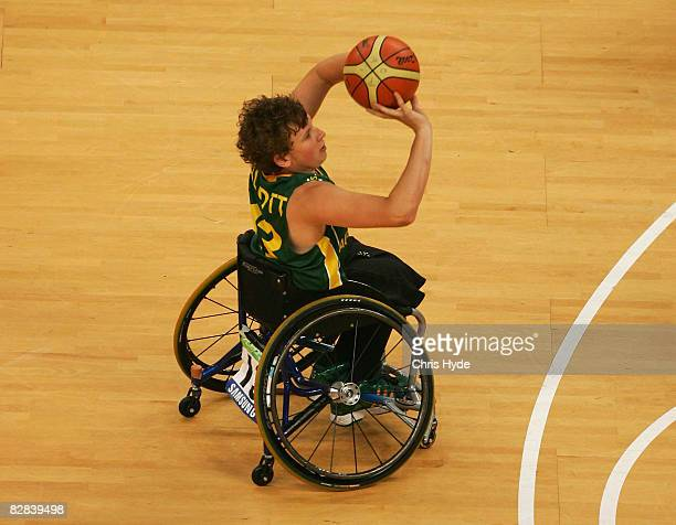 Dylan Alcott of Australia shoots during the Gold Medal Wheelchair Basketball match between Australia and Canada at the National Indoor Stadium during...