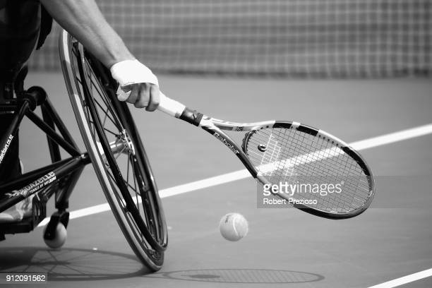 Dylan Alcott practices during a training session at Melbourne Park on January 26 2018 in Melbourne Australia Alcott dominated the 2018 Australian...