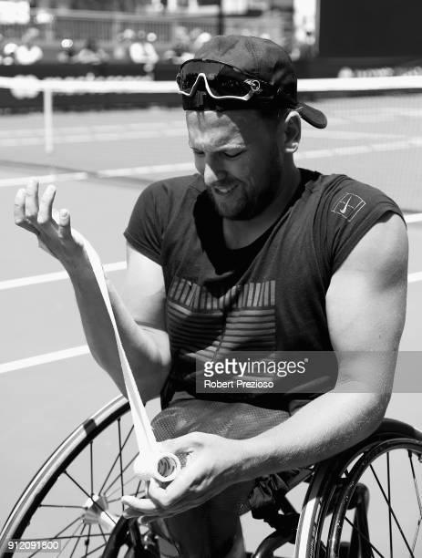 Dylan Alcott prepares for a training session at Melbourne Park on January 22 2018 in Melbourne Australia Alcott dominated the 2018 Australian Open...