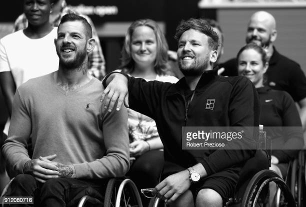 Dylan Alcott smiles during the Australian Open Wheelchair Championships official draw at Melbourne Park on January 22 2018 in Melbourne Australia...