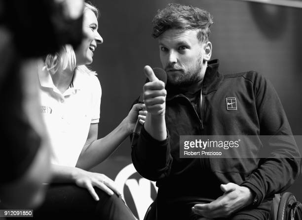 Dylan Alcott speaks to media during the Australian Open Wheelchair Championships official draw at Melbourne Park on January 22 2018 in Melbourne...