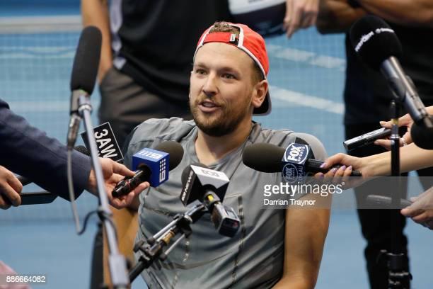 Dylan Alcott speaks to the media during an Australian Open announcement at Melbourne Park on December 6 2017 in Melbourne Australia
