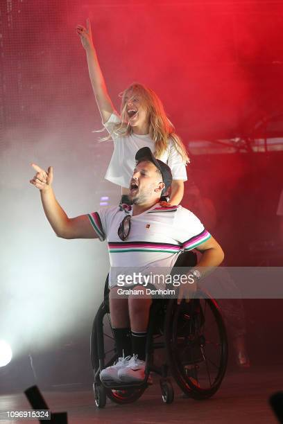 Dylan Allcott joins Owl Eyes on stage as she performs with Flight Facilities on the AO Live Stage during day seven of the 2019 Australian Open at...