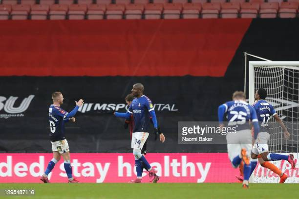 Dylan Bahamboula of Oldham Athletic celebrates with teammate Davis Keillor-Dunn after scoring his team's first goal during the FA Cup Third Round...