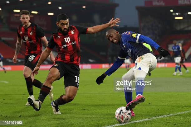 Dylan Bahamboula of Oldham Athletic crosses the ball under pressure from Cameron Carter-Vickers of AFC Bournemouth during the FA Cup Third Round...