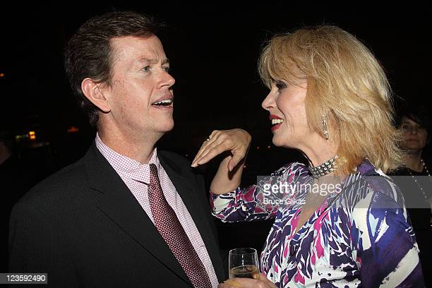 Dylan Baker and Joanna Lumley pose at The Opening Night After Party for La Bete on Broadway at Gotham Hall on October 14 2010 in New York City Dylan...