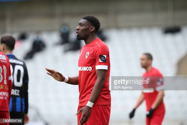 Dylan Batubinsika of Royal Antwerp FC during the Jupiler Pro League match between Club Brugge and FC Antwerp at Jan Breydelstadion on March 21, 2021...