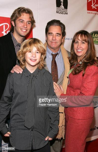 Dylan Bridges Zeke Bridges Beau Bridges actor and Wendy Bridges poses at the arrivals for The Hollywood Entertainment Museum Annual Awards Honoring...