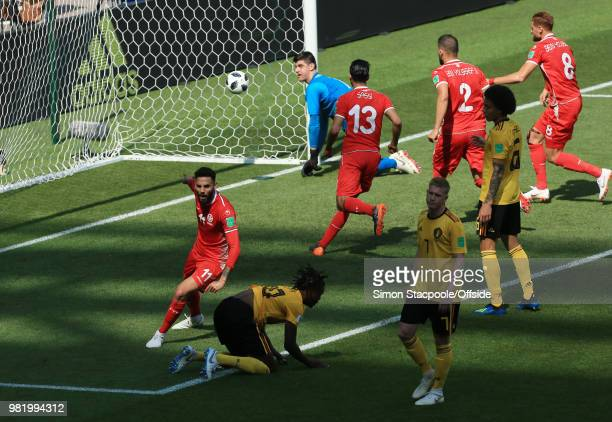 Dylan Bronn of Tunisia celebrates after scoring a goal for his team making the score 21 to Belgium during the 2018 FIFA World Cup Russia Group G...