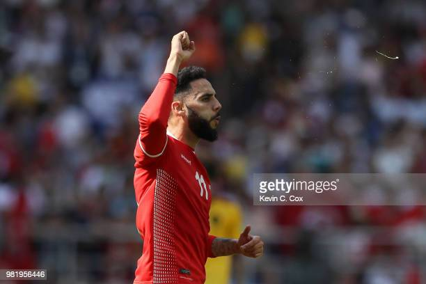 Dylan Bronn of Tunisia celebrates after scoring his team's first goal during the 2018 FIFA World Cup Russia group G match between Belgium and Tunisia...