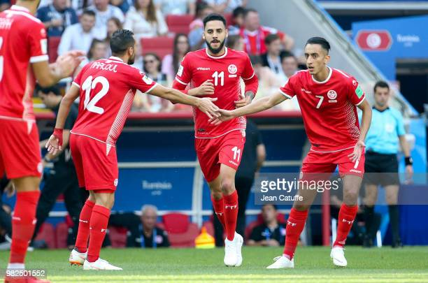 Dylan Bronn of Tunisia celebrates his goal between Ali Maaloul and SaifEddine Khaoui during the 2018 FIFA World Cup Russia group G match between...