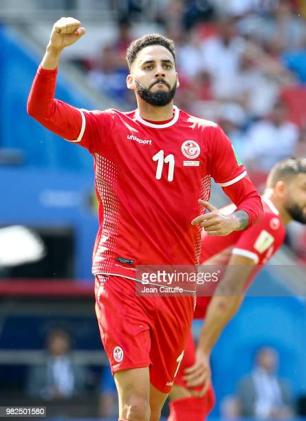 Dylan Bronn of Tunisia celebrates his goal during the 2018 FIFA World Cup Russia group G match between Belgium and Tunisia at Spartak Stadium on June...