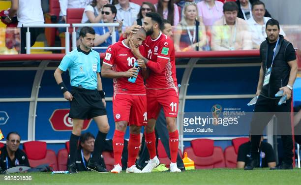 Dylan Bronn of Tunisia celebrates his goal with Wahbi Khazri during the 2018 FIFA World Cup Russia group G match between Belgium and Tunisia at...
