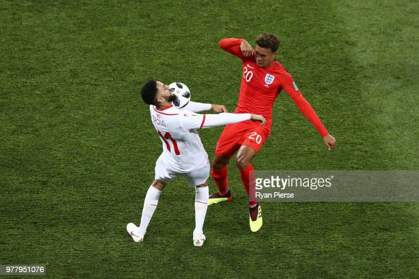 Dylan Bronn of Tunisia controls the ball under pressure of Dele Alli of England during the 2018 FIFA World Cup Russia group G match between Tunisia...